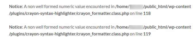 A non well formed numeric value encountered in crayon_formatter.class.php